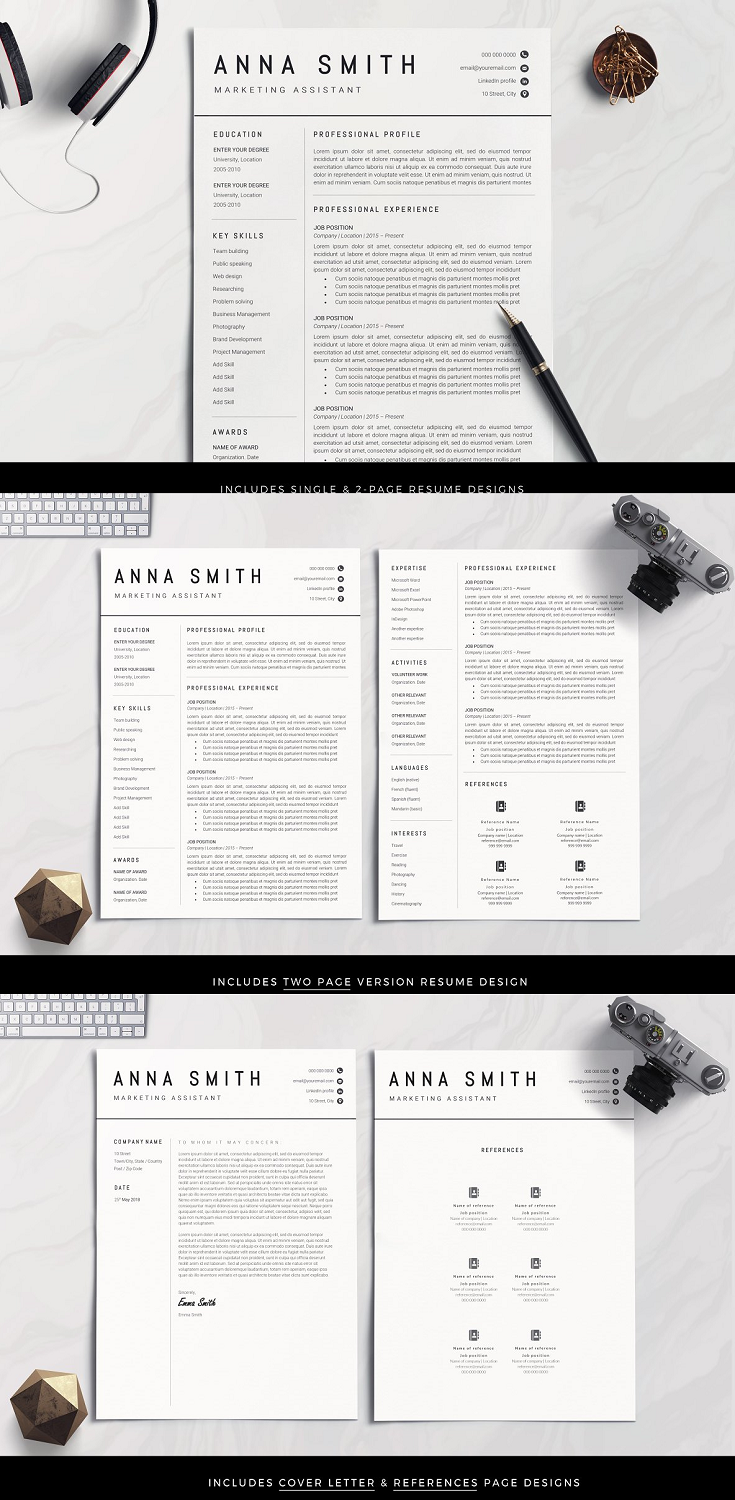 In this resume you can easily edit text, change colours and fonts, add your own logos and pick from any of the 100+ icons in an exclusive icons set that can be edited directly within Microsoft Word. No more need to edit icon images! Use our templates if you're going for a minimalist resume or a classic teaching resume or simply want to build up your own layout without restrictions.