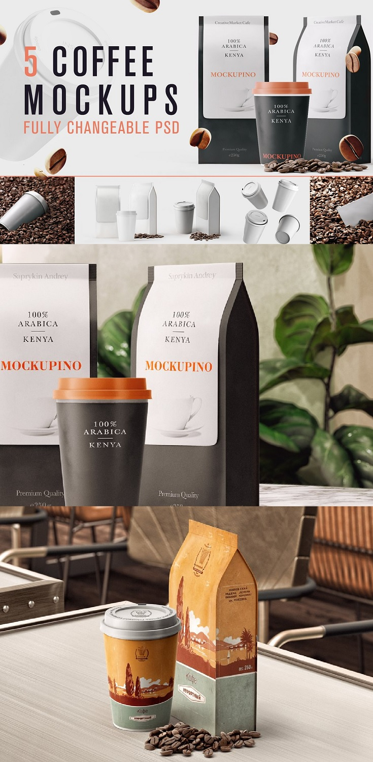 Set of Coffee Bag Mockups This set include 5 fully changeable good looking PSD files for your presentation or whatever! You can change design of objects by double click on highlighted layer, just put your design and save it
