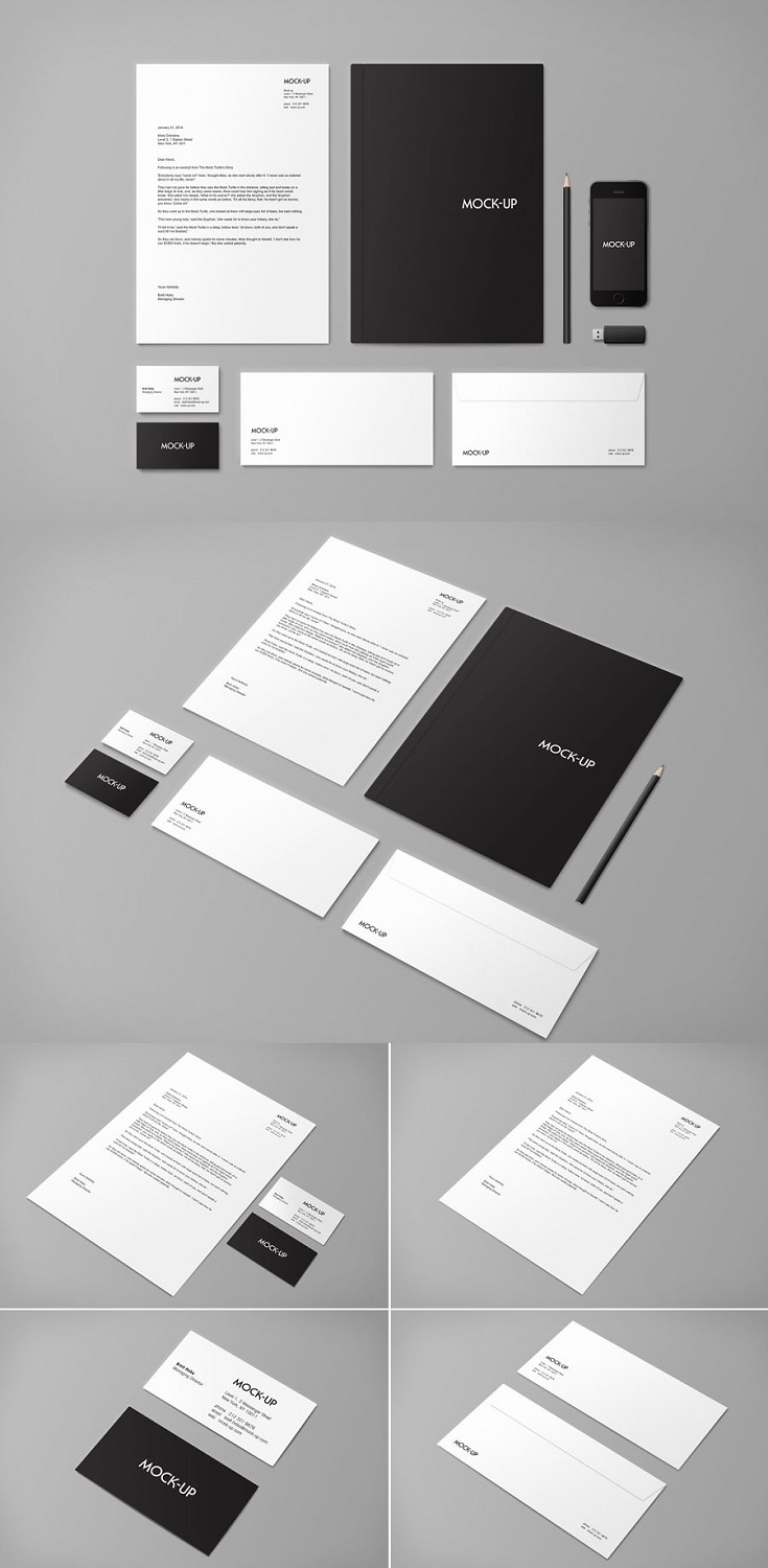 Stationery & Branding Mock-up, Photoshop Templates to help quickly mock-up visual identities onto stationery.  Double click 'Smart Layer' 2. Paste in your artwork 3. Save and you're Finished! • 6 PSD files of various layouts. • Edit content via Smart Object Layers.