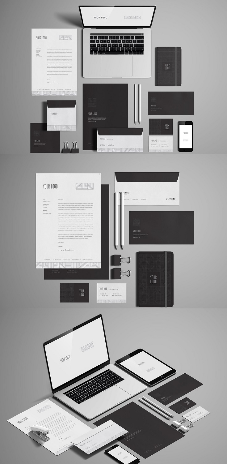 Stationery Branding Mockup Features  8 psd files (4 Psd White 4 Psd Black) Resolution – 4000×2800 px Editable via smart object Changeable background (Automatic Perspective) or color All fully layered, you have access to shadows, reflections etc.