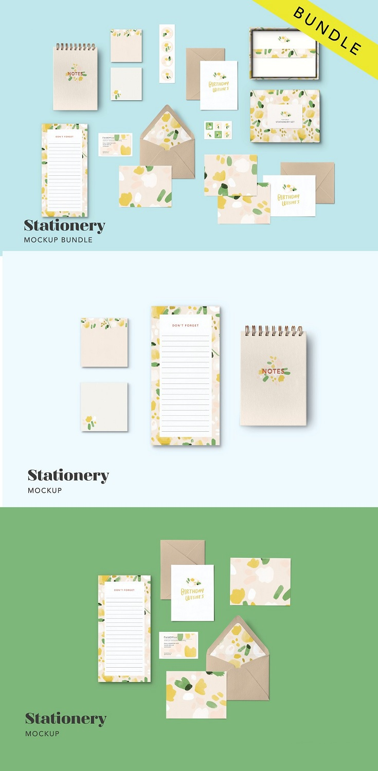 Stationery Mockup Bundle The stationery collection mockup contains 17 moveable objects in one large 9375 x 6250 (300dpi) file—show your surface design collections across multiple products all at once or create your own groupings.  Each mockup is designed to be versatile so that it can be modified and reused over and over again on social media and in portfolios, presentations, and lookbooks.