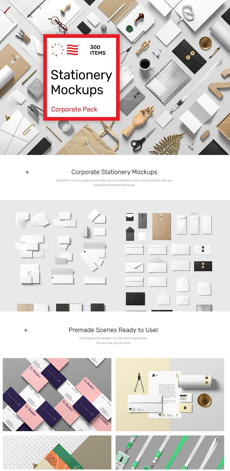 Stationery Mockups Corporate Pack, Make your presentation even more attractive with our Corporate Stationery Mockups Pack! Create premium quality images by just dragging and dropping items in Photoshop. To give you a better start we have crafted some premade scenes and templates ready to use.