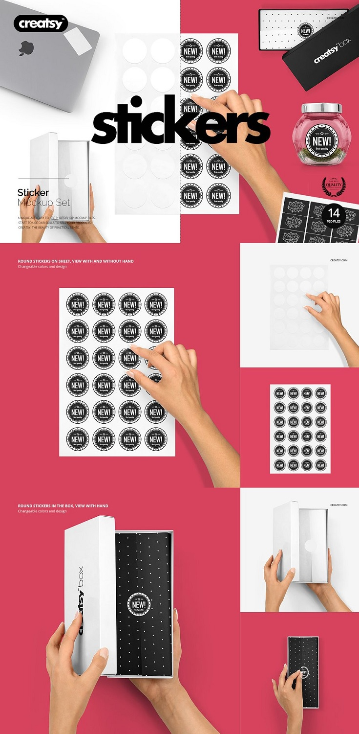 Stickers Mockup Set files works only in Photoshop (min. PS CS5); pack includes 14 .psd files with 14 different views, file specs: 4000x4000 px 300dpi; changeable colors and design (via smart objects);