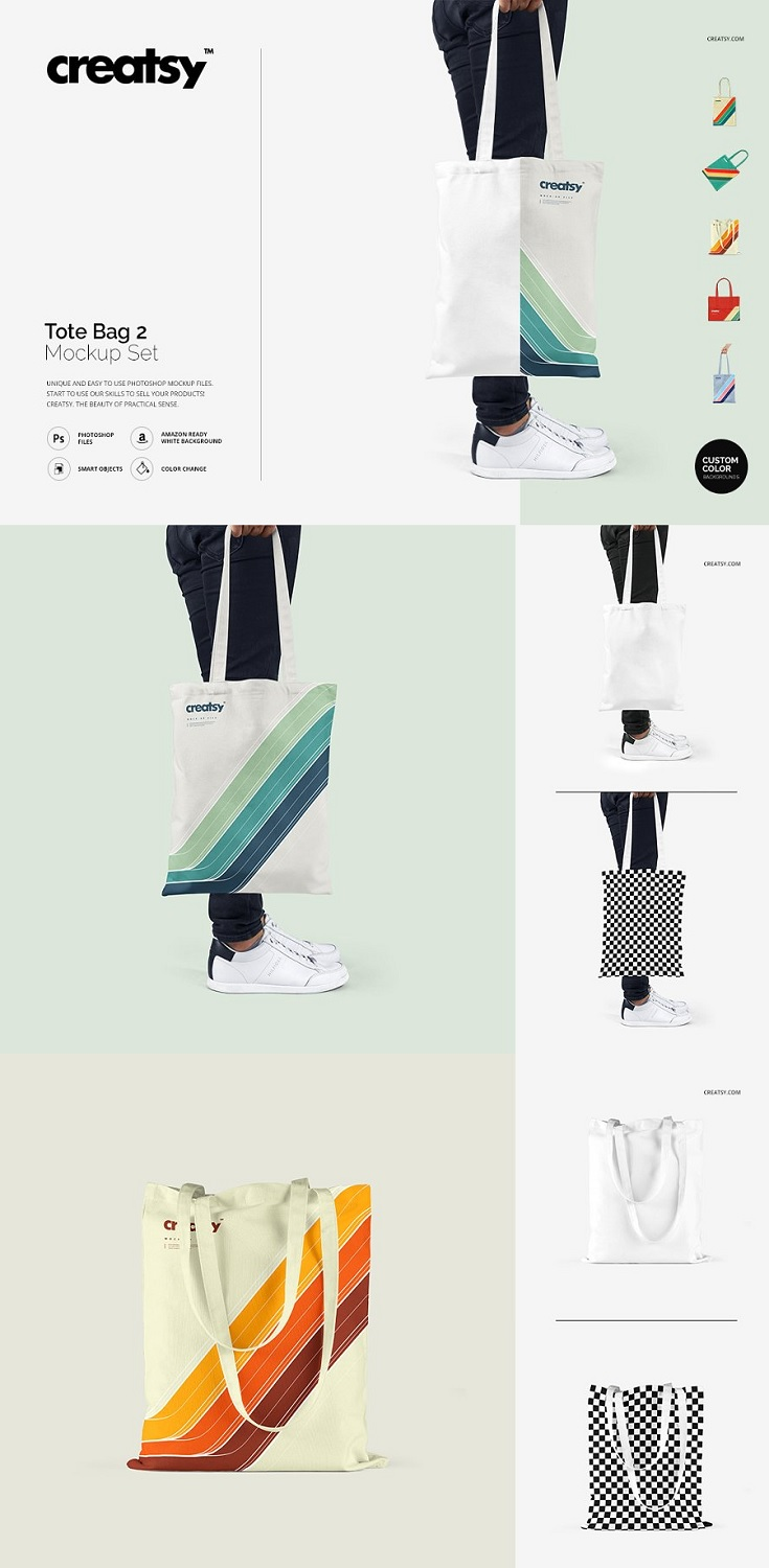 Tote Bag 2 Mockup Set files works only in Photoshop (min. PS CS4); pack includes 8 .psd files, file specs: 5000x5000 px 300dpi; changeable colors and design (via smart objects); changeable color of straps;