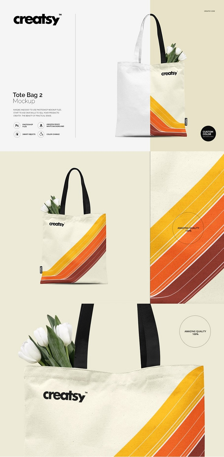 Tote Bag 2 template - layered, editable psd file prepared to showcase your custom design, by simply editinng the smart object and color layers.