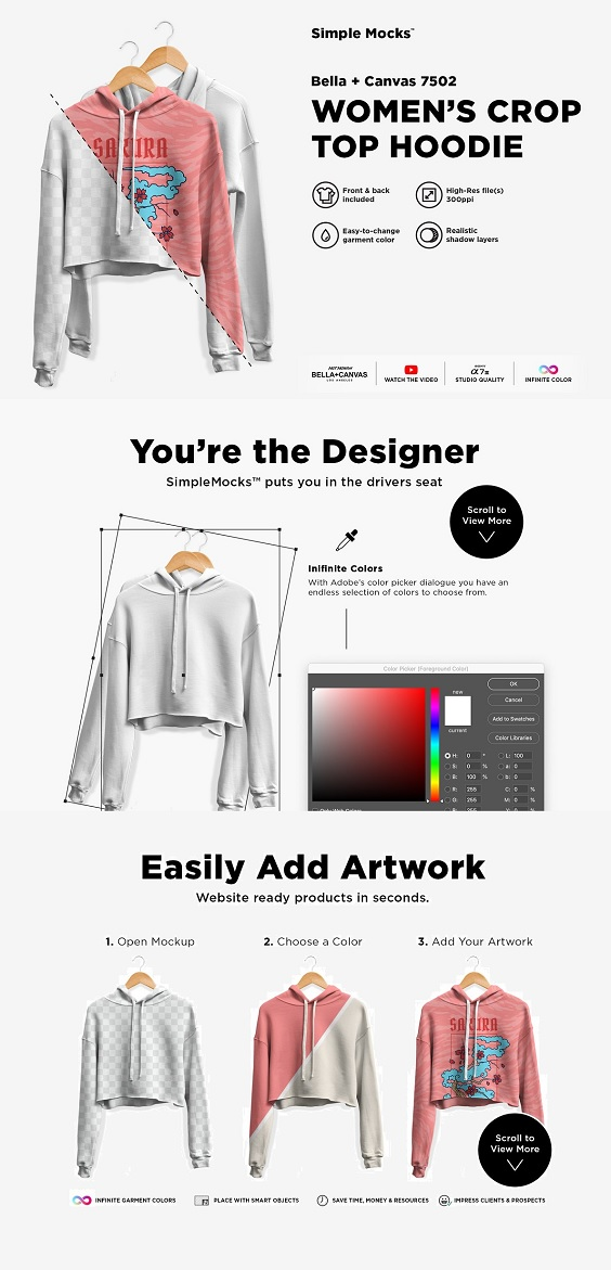 This women's crop top hoodie mockup is based on the Bella + Canvas 7502. Enjoy!  Simple mocks exist to improve your productivity. These are straight forward high-res mockups with only the essential layers and no frills.