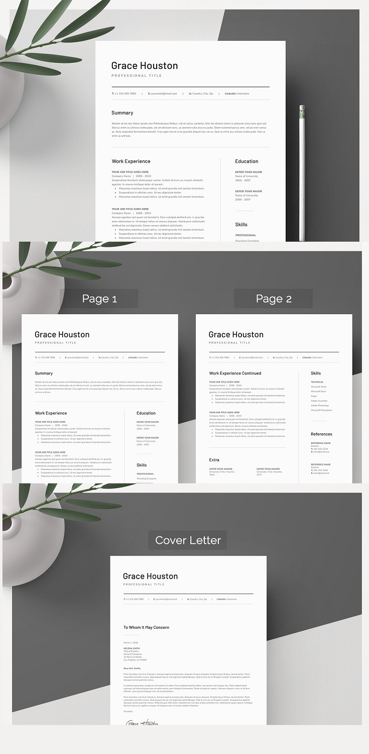 Downloading the file will allow access to your professionally designed, 1, 2 page resume template + cover letter. The template can be easily customized to your liking and includes all necessary files for a quick set-up. Delete or add anything you desire in the document, change colors or simply keep the original design.