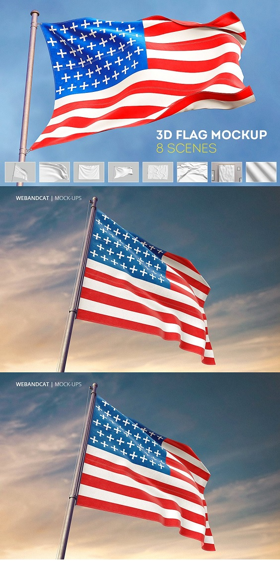 3D FLAG MOCK-UP Create a elegant presentation for your designs