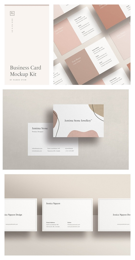 high resolution business card mockup, compatible with Adobe Photoshop and distinctive because of its natural look and many options