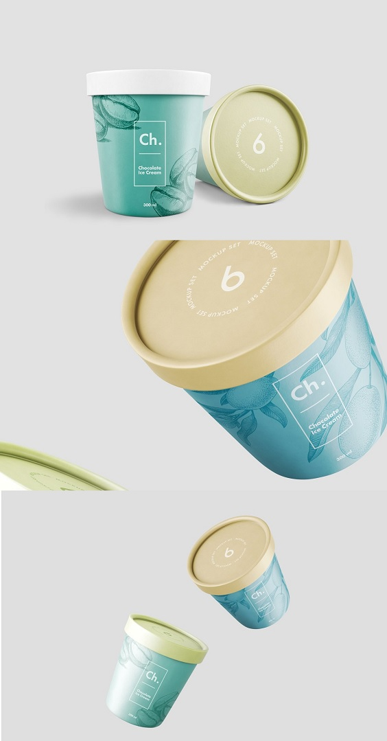 Ice Cream Jar Mockup. Inside you will find 6 pre-made PSD scenes