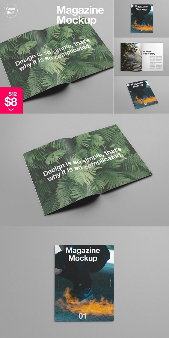 Magazine Mockup This PSD Magazine Mockup is made to bring your magazine design to life