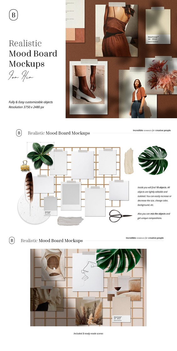Realistic Mood Board Mockups with quality textures