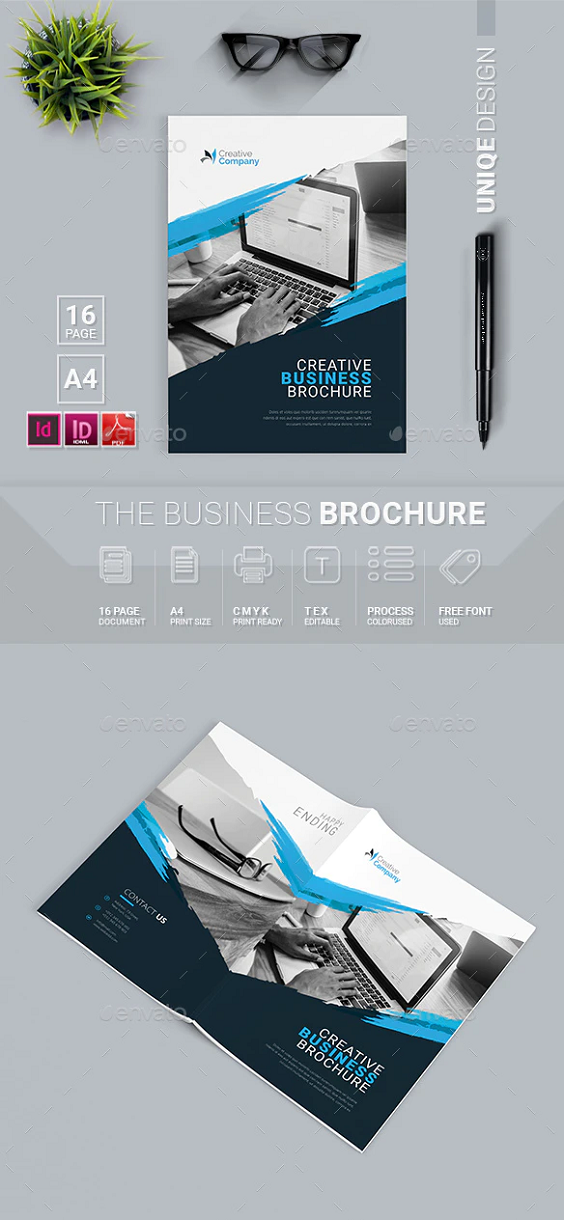 Sample 16 Pages Brochure PSD Template