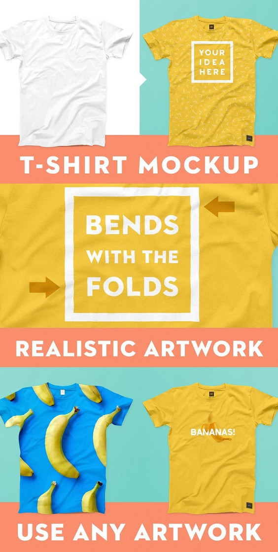 This photoshop template allows you to mockup your t-shirt design.
