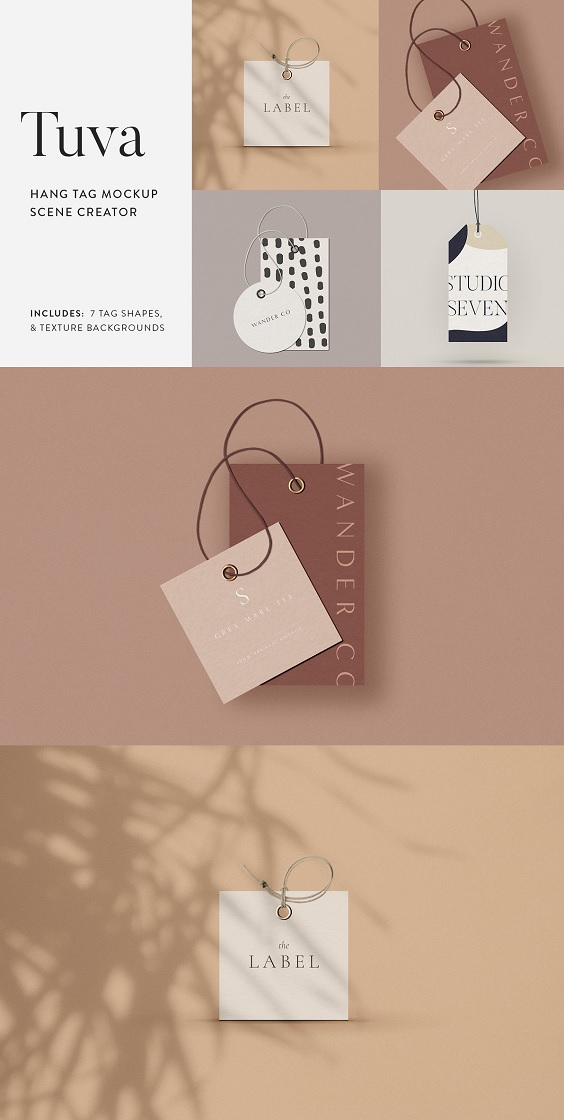 Mockup your hang tag designs with Tuva, a minimalist inspired tag mockup scene creator