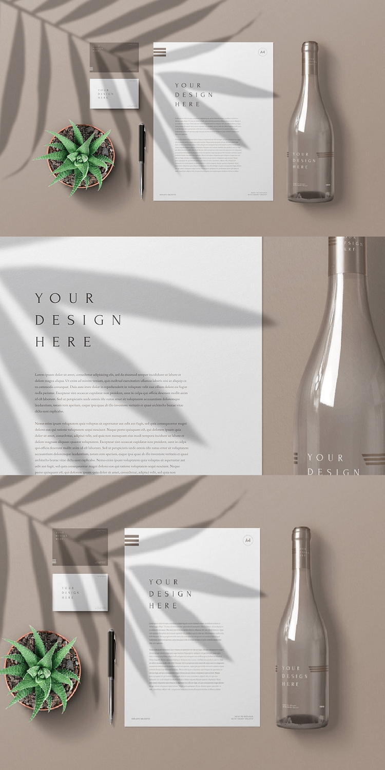 A4 Stationery Bottle Wine Mockup