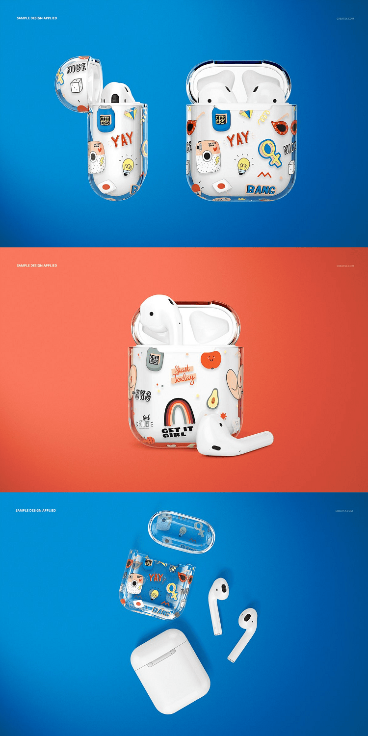 AirPods Clear Case Mockup Set 01