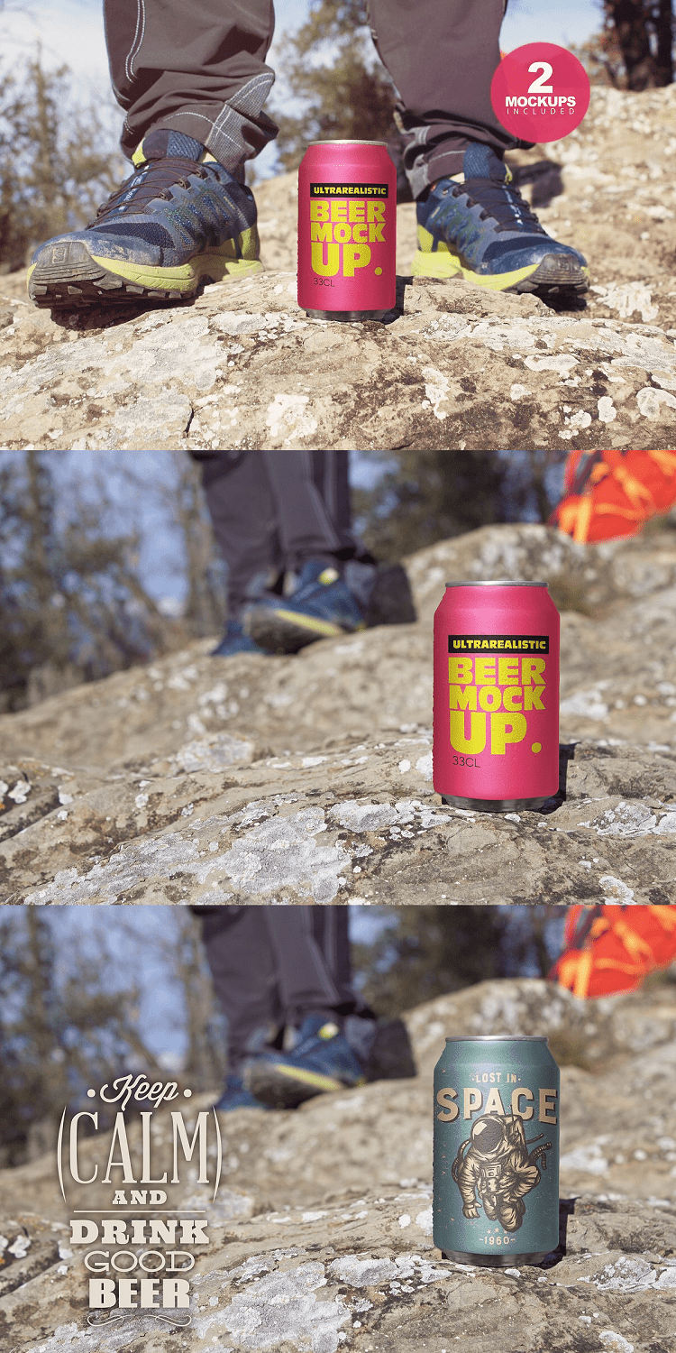 Mountain Beer Can Mockup Duo