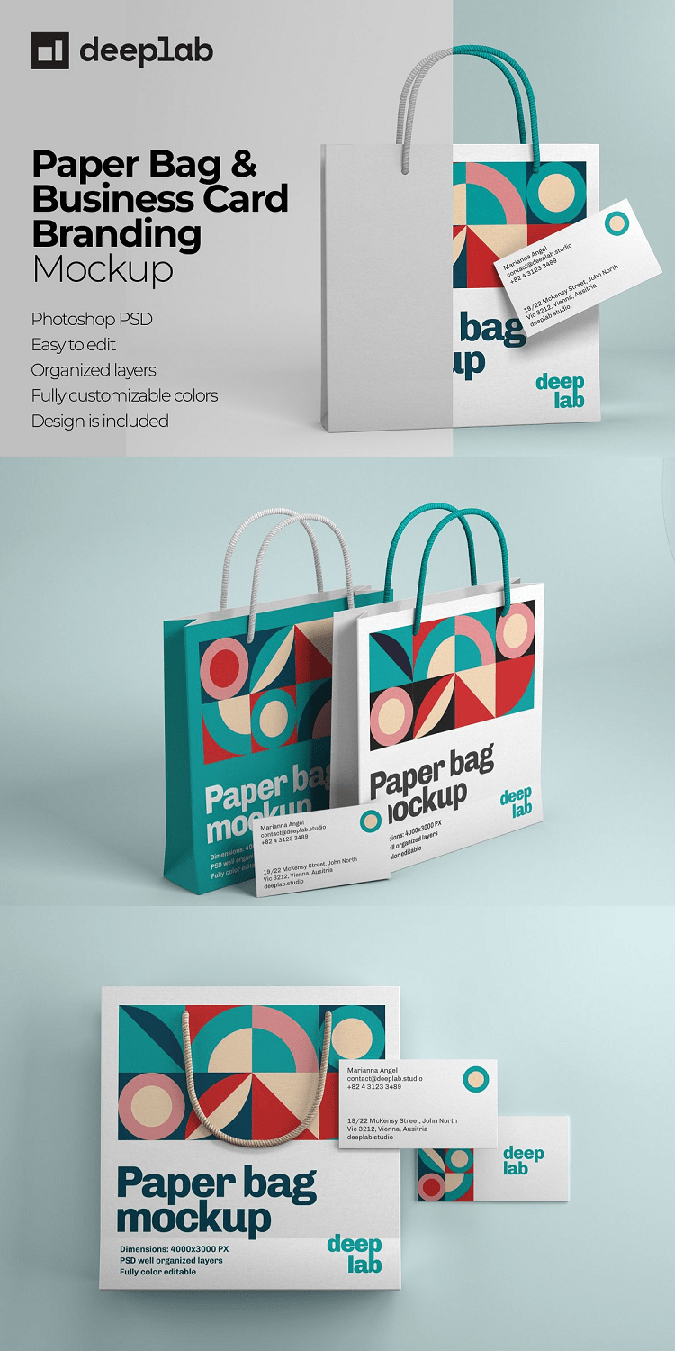 Paper Bag Stationery and Branding Mockup