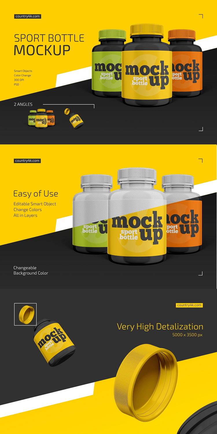 Sport Bottle Mockup Set