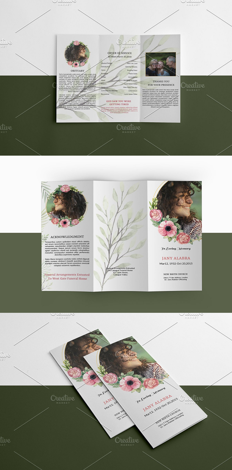 Trifold Funeral Template Design