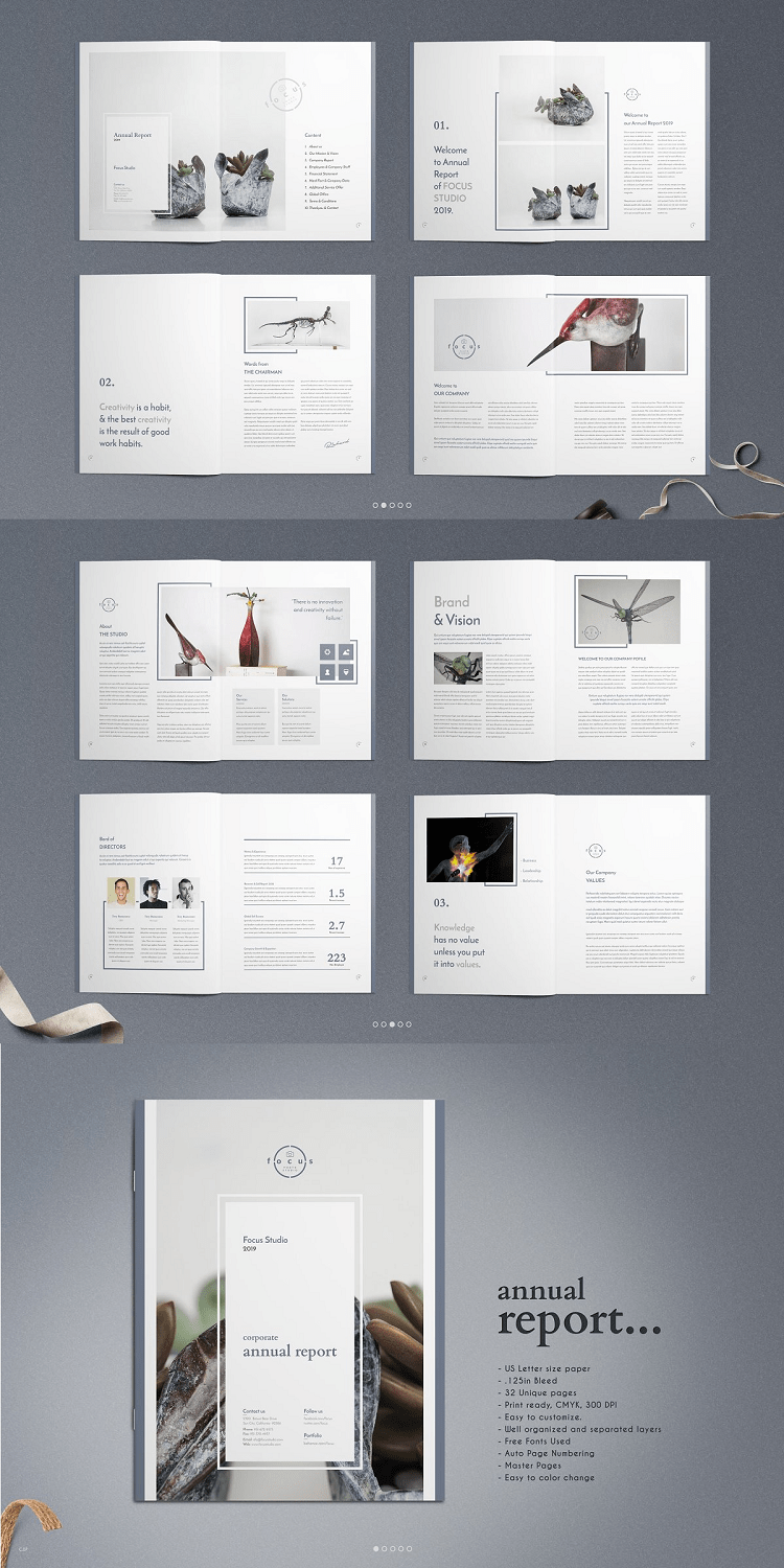 Indesign 32 Page Corporate Annual Report Template.
