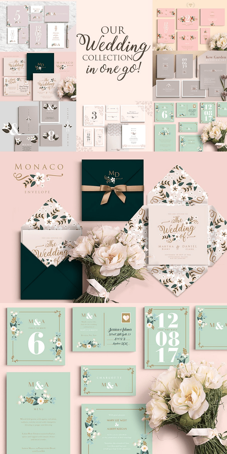 Wedding Invitation Collection 7 Sets 49 Files