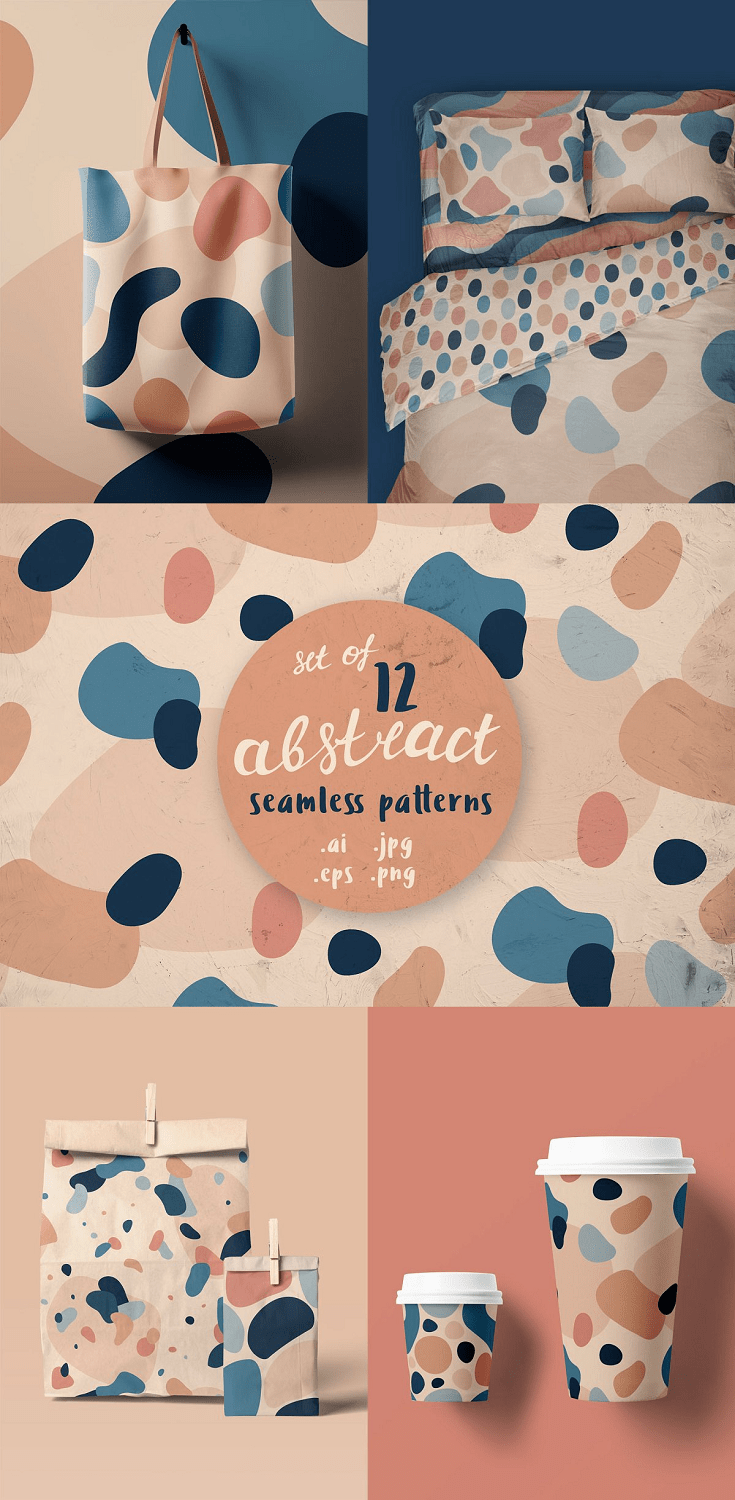 12 seamless patterns with abstract organic shapes. They are fully editable (using Adobe Illustrator)
