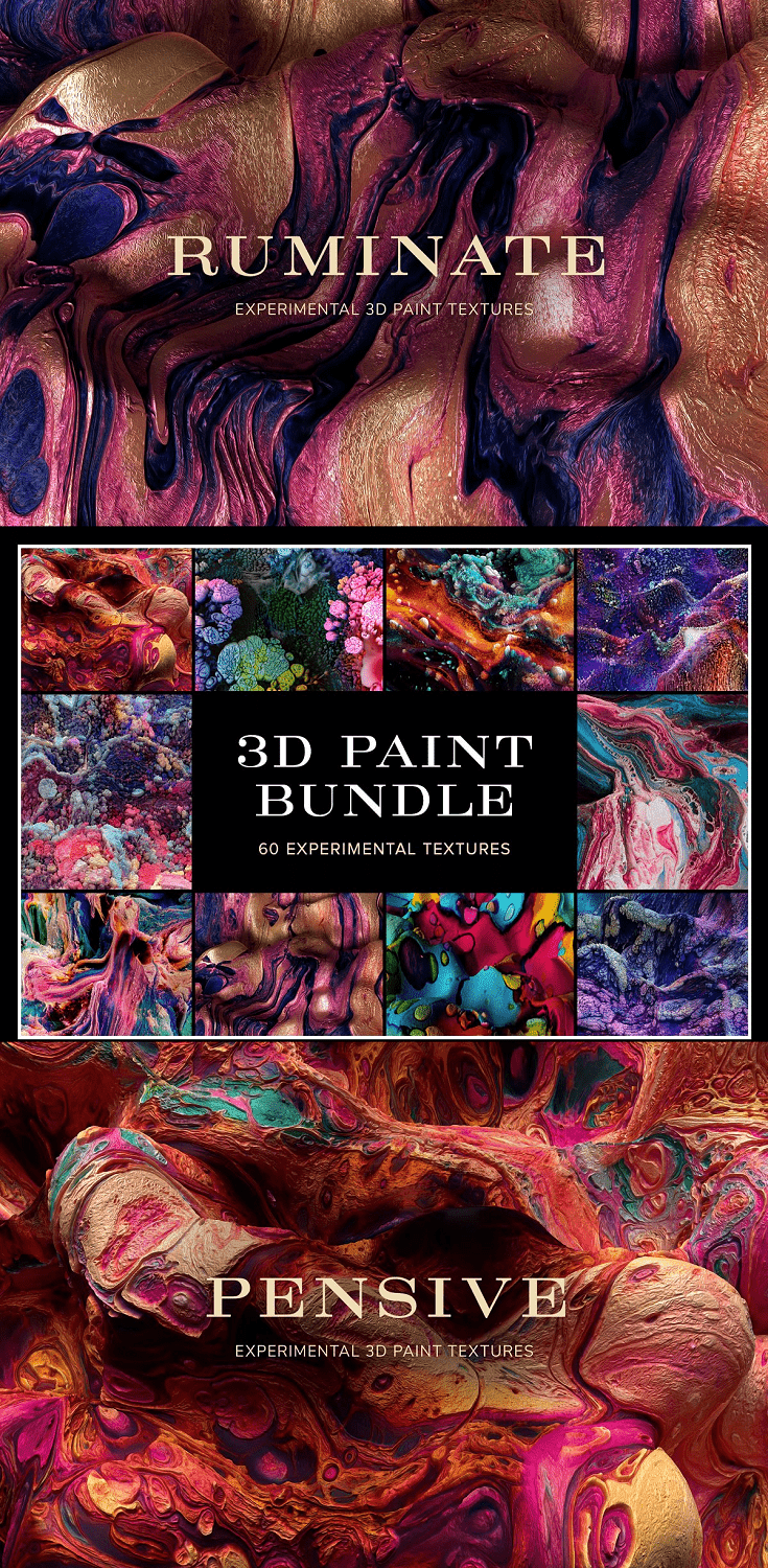 A set of experimental 3D paint textures. These pieces were created through an experimental process of merging physical paintings with digital 3D software.