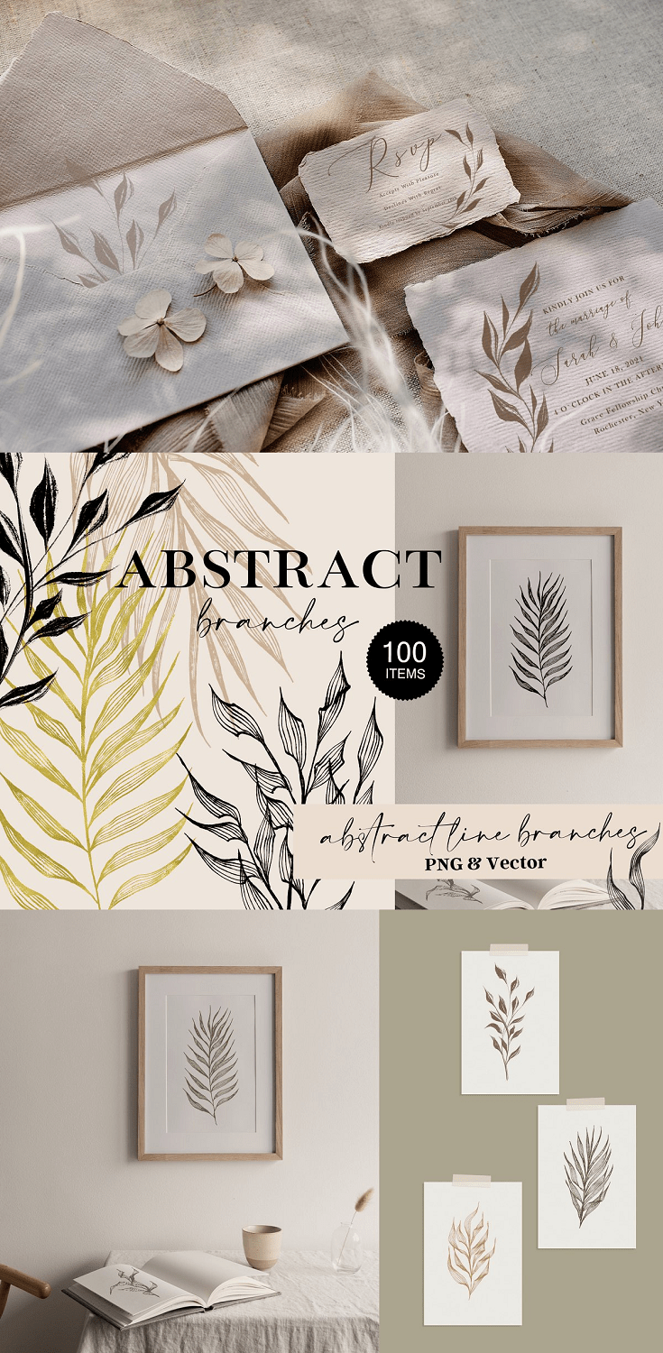 Abstract Branches Botanical Line Art