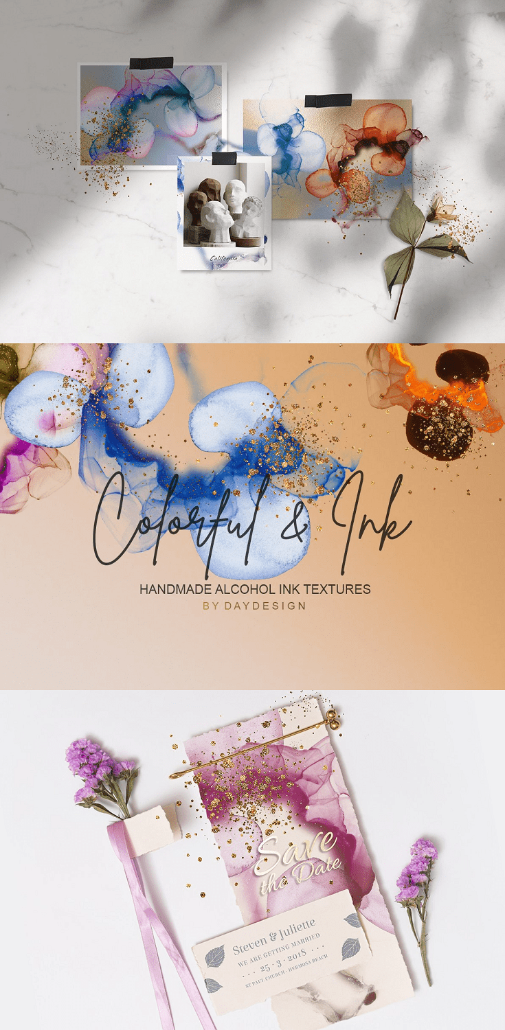 Alcohol Ink Textures PNG