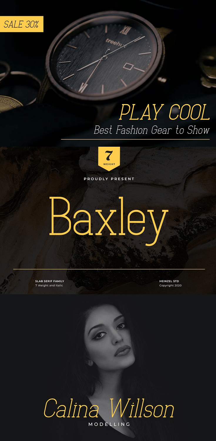 Baxley Slab Serif is vibrant and strong in all of its seven weights, and features true italics and multilingual language support.