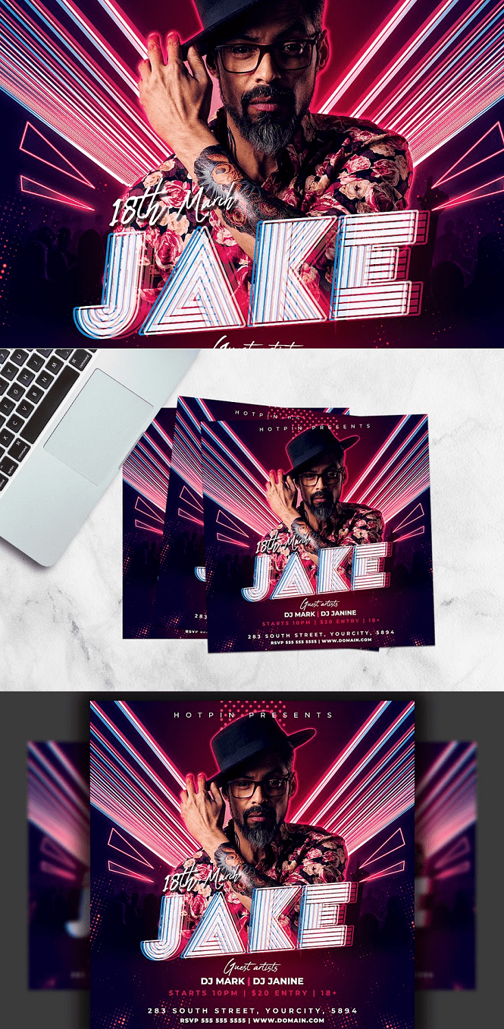 Guest Dj Flyer Template is very modern psd flyer that will be the perfect invitation for your Club event. Adobe Photoshop Cs3 and above version is needed to edit this file.