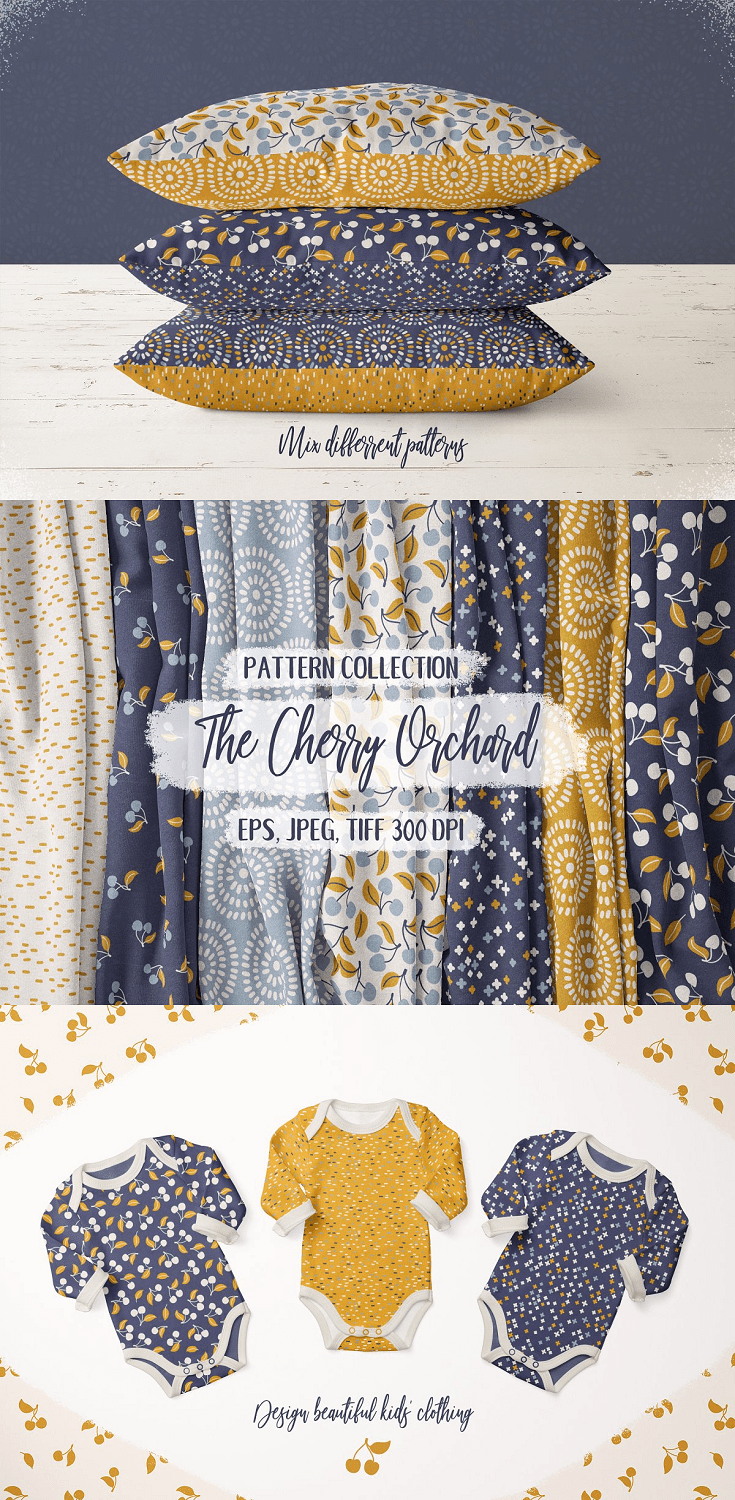 Cherry Orchard' is a collection of 16 well-coordinated seamless patterns. You will receive 16 patterns in 3 formats