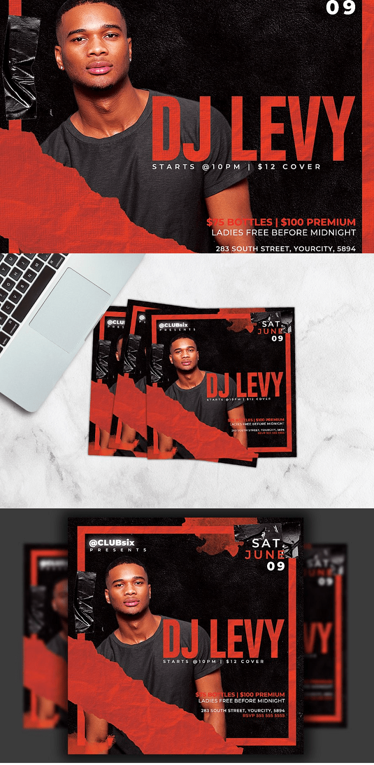 """Dj Flyer Template is very modern psd flyer that will be the perfect invitation for your Club 2 PSD files - 4""""x4"""" with 0.25"""" bleed + Rgb Flyer Clearly labelled folders and layers CMYK – 300dpi - Ready to print with guides"""