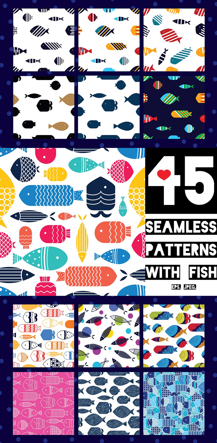 fish Seamless Patterns Pack Includes: 45 pattern in Vector Eps 10, Jpeg 300 Dpi