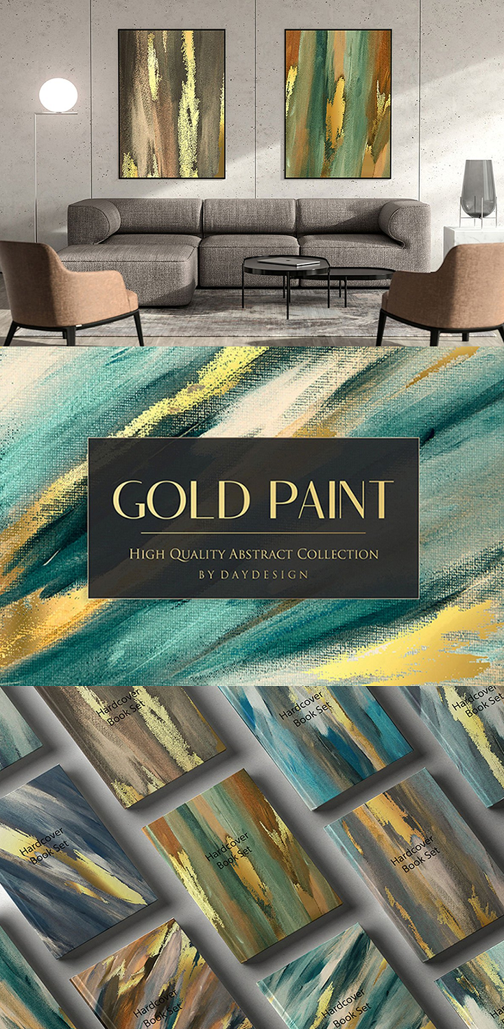 Gold Green Painted Backgrounds