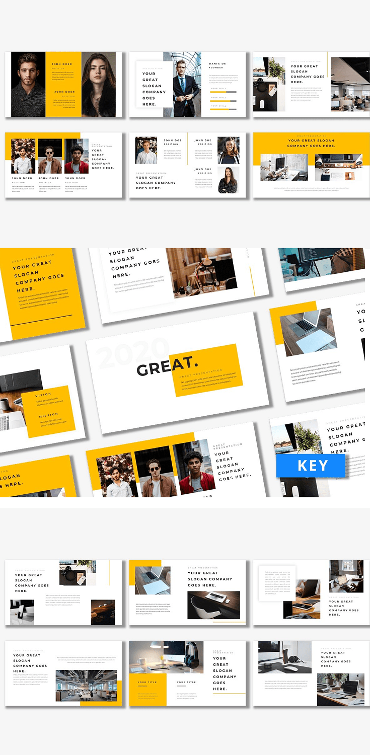 Great - Keynote Template Showcase your latest business strategy with this stylish, colorful and professional set of presentation templates