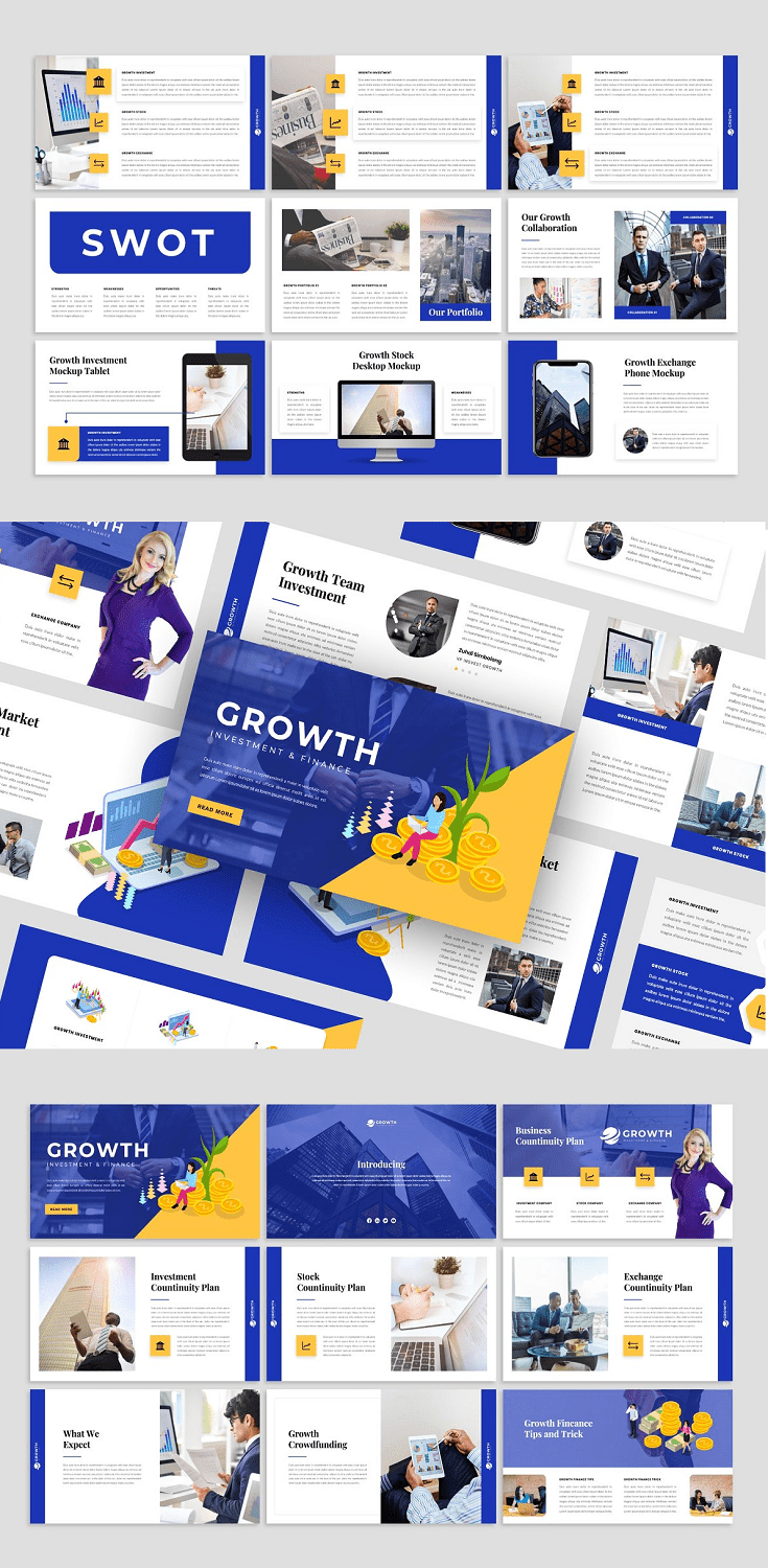 Growth - Presentation Template each slide is unique and not just a recurring layout. it's perfect for digital media, marketing, or for your presentation.