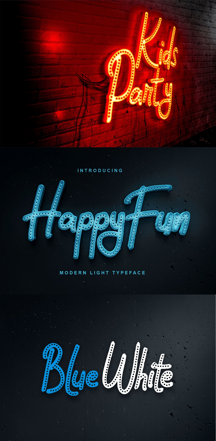 HappyFun   Modern Light Typeface with a calligraphy style, So beautiful on invitation like greeting cards, branding materials, business cards, quotes, posters, and more.