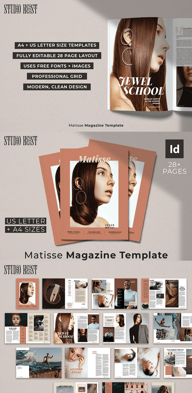 A modern, multipurpose InDesign template perfect for your magazine, portfolio, lookbook, brochure, and more.