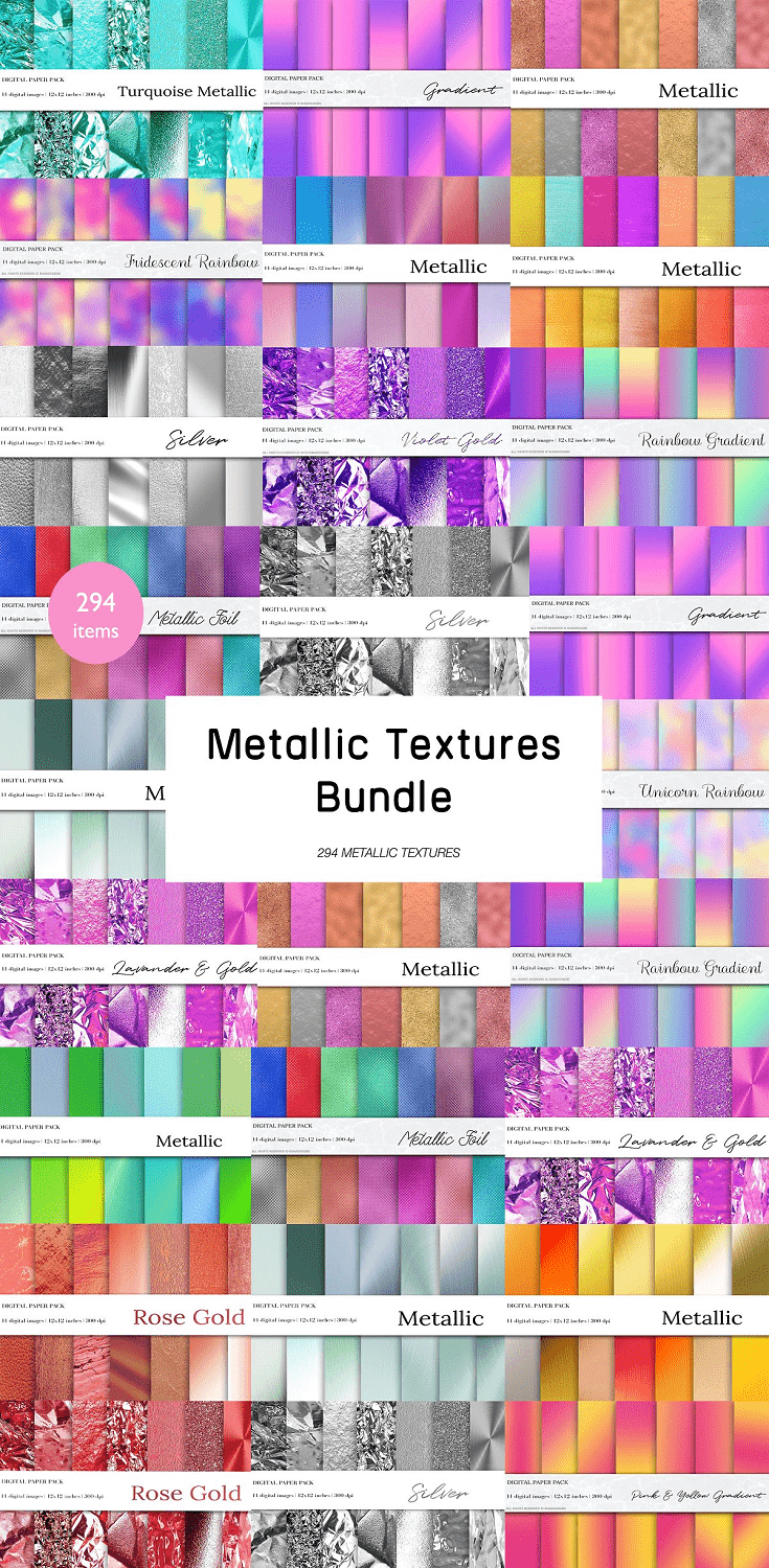 294 Metallic Textures Bundle; included 21 products.. Metallic Textures, Gradient Textures etc..