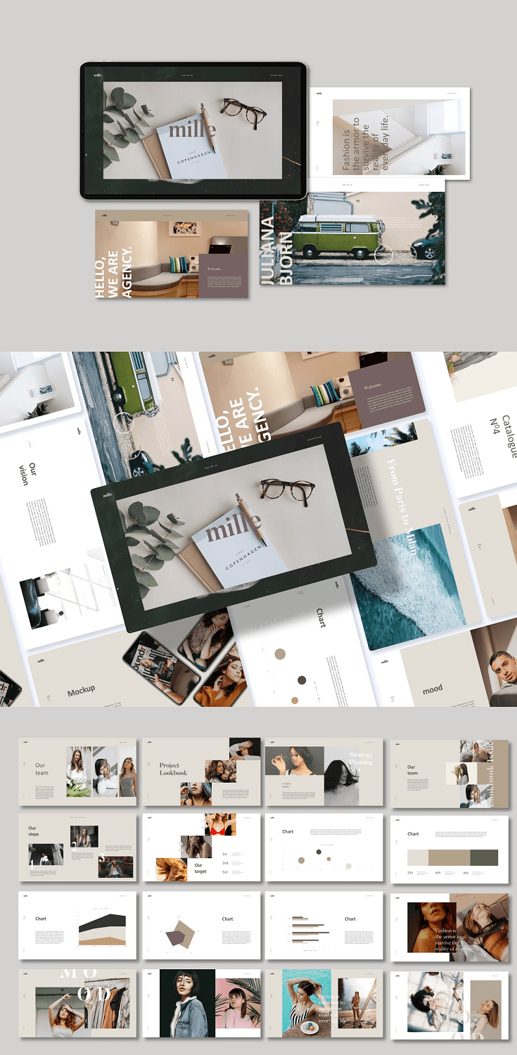 Mille is Powerpoint Template inspired by scandinavian theme and style. We use Powerpoint to create template with magazine / lookbook layout style, no need Indesign or Photoshop.