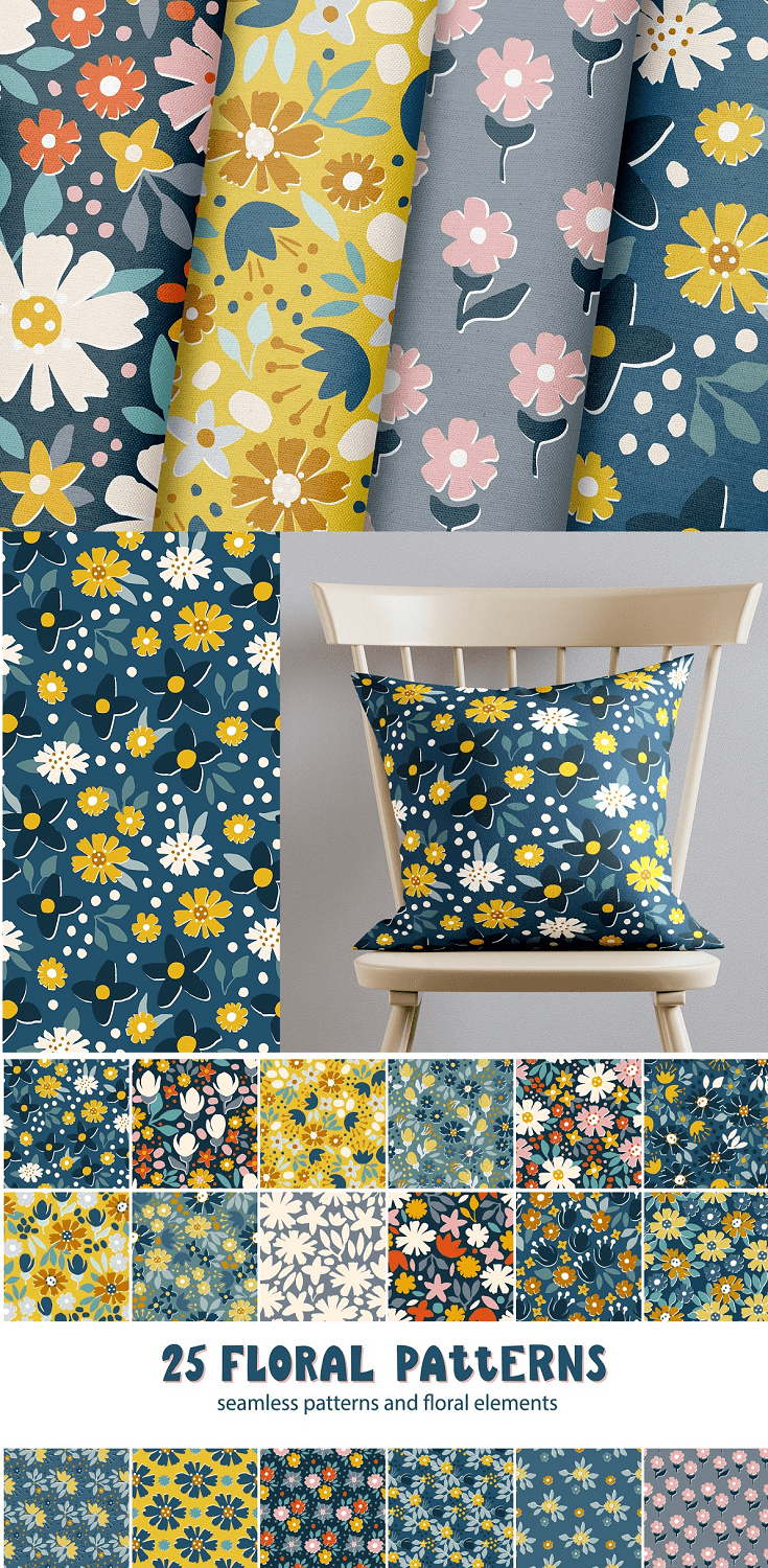 Floral seamless patterns collection. Stylized hand drawn with ink and brush garden abstract flowers.