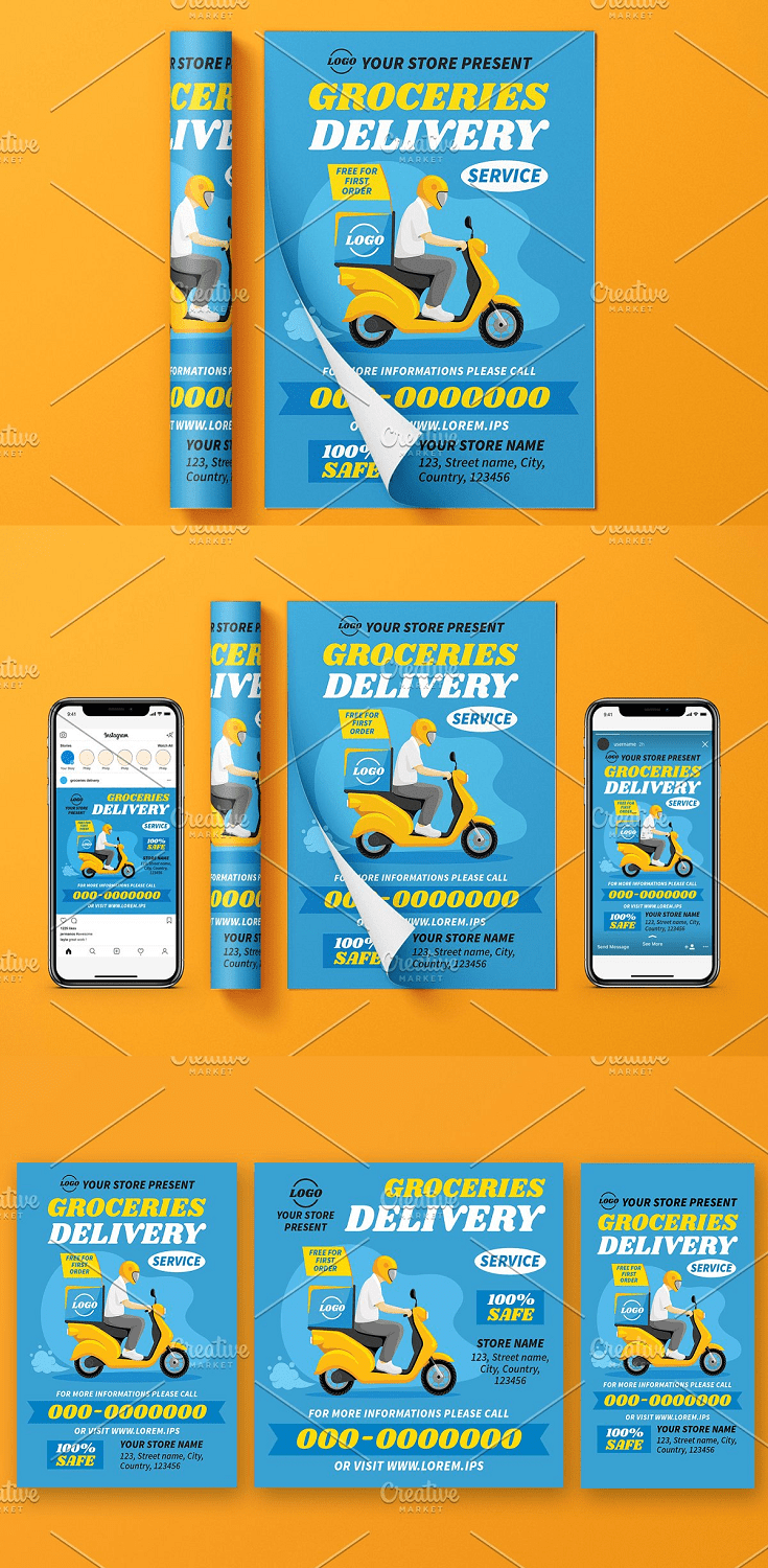 Templates Set For Delivery Service 100 % vector in AI files ! You can resize this templates to any size without loss quality. Features : CMYK 300 DPI 3 AI (CS), 3 Psd File (+ 3 JPG preview) Vector Object Free font used (not included, download links provided in help file) Well organized layers A4 (8.27×11.69) Flyer + 0.125 bleeds 1000 px x 1000 px, RGB (instagram Post) 1080 px x 1920 px, RGB ( Instagram Story)
