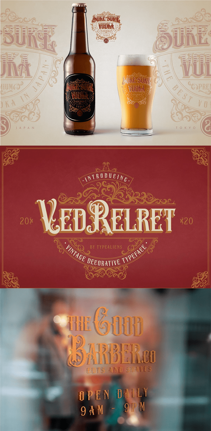 VED RELRET is a decorative font for display. The inherent ornament element makes this font suitable for display.
