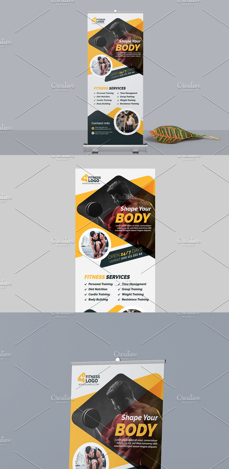 Body Fitness Roll Up Banner Template