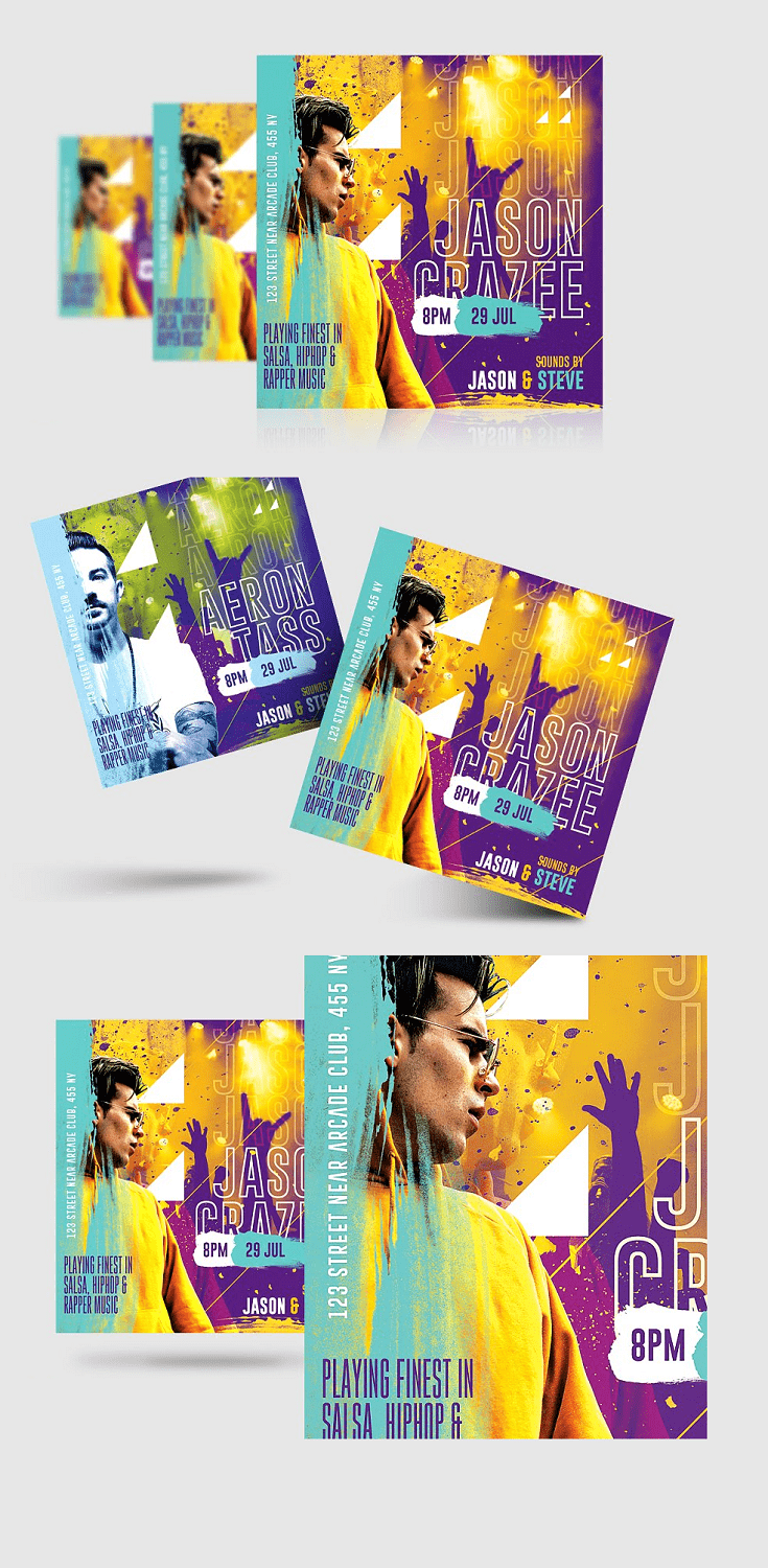 DJ Concert Flyer – you can use this template to invite your friends or promote a nightclub concert, tour, etc.. Also can be used to promote an online event.