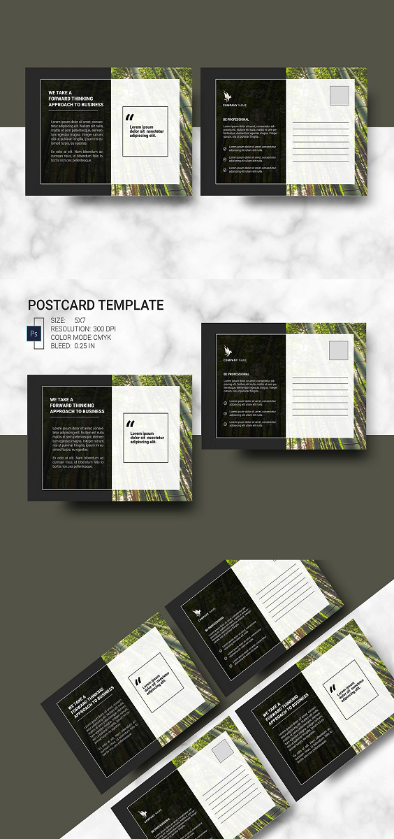 Best Postcard Template Information: Size: 5x7 Resolution: 300 dpi Color mode: CMYK Bleed: 0.25 in Working file: Photoshop Cs2, File included: Photoshop cc File, Mock-up and photo are not included in main file.