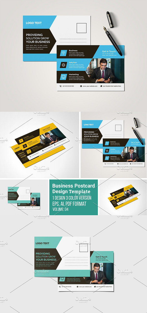 Business Post Card Design Template 3 Color Version Volume: 04 Full Vector : Eps. Pdf and Ai. file include Easy Customization and Editable Size: (4×6).with Bleed 0.125 inch 300 DPI resolution Working Software Version : CS6 Version. Software support version : CS4, CS5,CS6, CC+ Version. Font FREE download link: include on help file